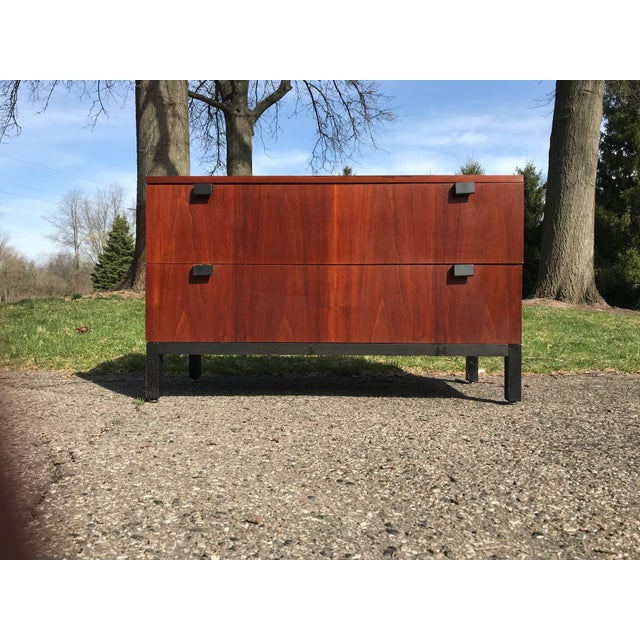 Walnut and Black Art Deco 2 Drawer Chest For Sale - Image 6 of 7