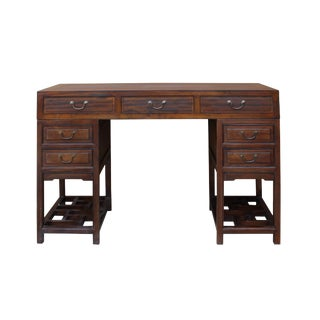 Chinese Vintage Brown Wood Editor Office Writing Desk Table For Sale
