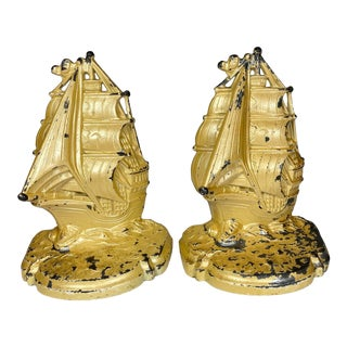 Vintage 1930 Ship Bookends - a Pair For Sale