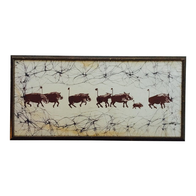 Batik Safari Wild Boars Print For Sale
