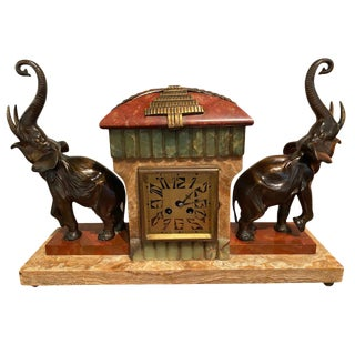 French Art Deco Bronze Elephant Sculptures on Marble with Clock and Garnitures For Sale
