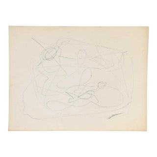 Mid-Century Modern Vintage Abstract Line Drawing on Paper For Sale