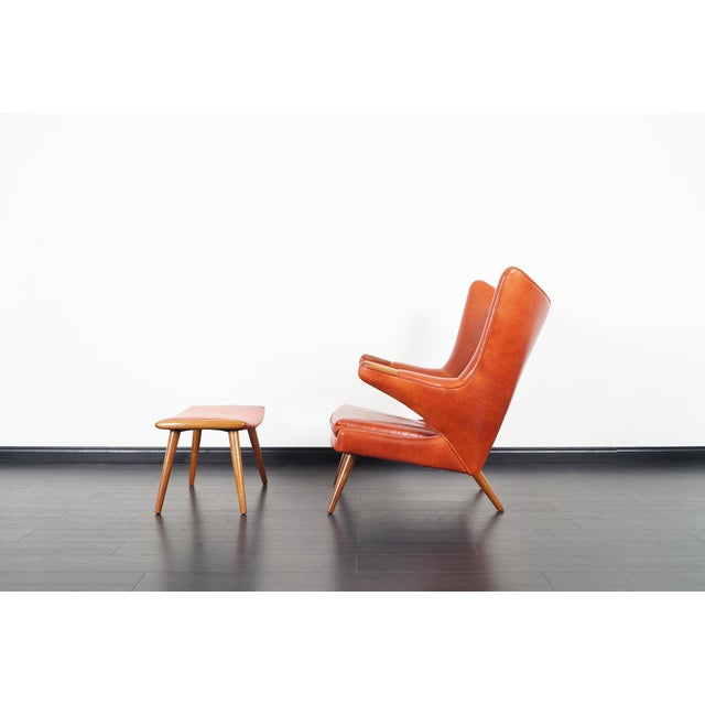 "Ap-19 ""Papa Bear"" Chair and Ottoman in the Manner of Hans J. Wegner - a Pair For Sale In Los Angeles - Image 6 of 12"