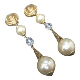 1980s French Dangle Statement Pearl Earrings For Sale