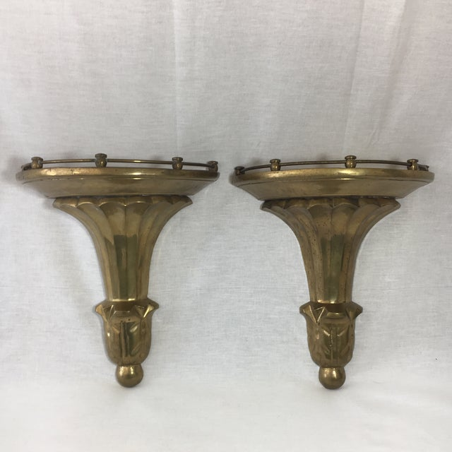 Brass Florentine Wall Sconce Shelf - A Pair - Image 2 of 11