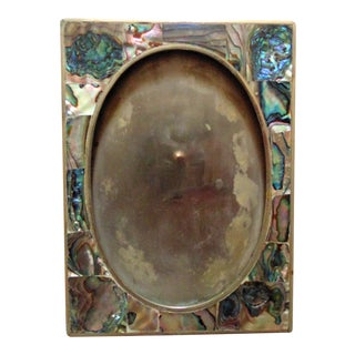 Vintage 1970s Abalone Mother of Pearl Picture Photo Frame For Sale