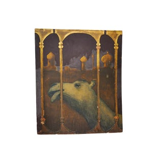 """Vintage Camel Painting Scene From """"Arabian Nights"""" For Sale"""