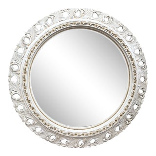 Hollywood Regency Hand Carved Round Mirror For Sale