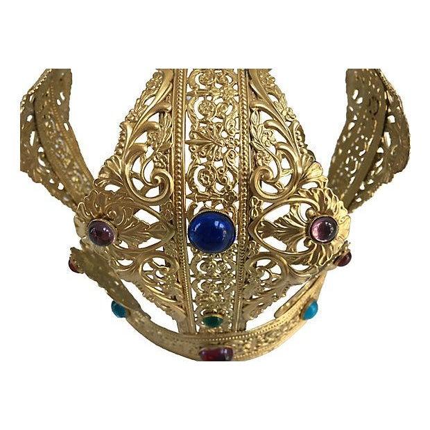 Vintage Brass Filigree Cabochon Crown For Sale - Image 4 of 5