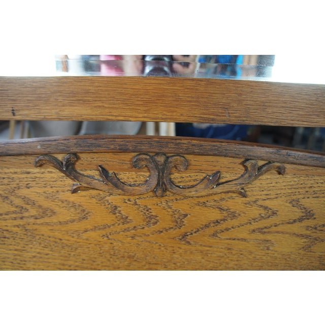 Late Victorian Antique Serpentine Oak Dresser & Carved Wishbone Mirror For Sale - Image 10 of 13