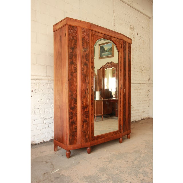 Vintage French Art Deco Burl Wood Mirrored Front Knockdown Wardrobe - Image 5 of 11