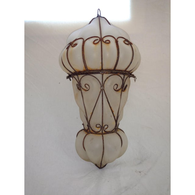 1960s Vintage Egyptian Blown Glass Lantern For Sale In Sacramento - Image 6 of 10