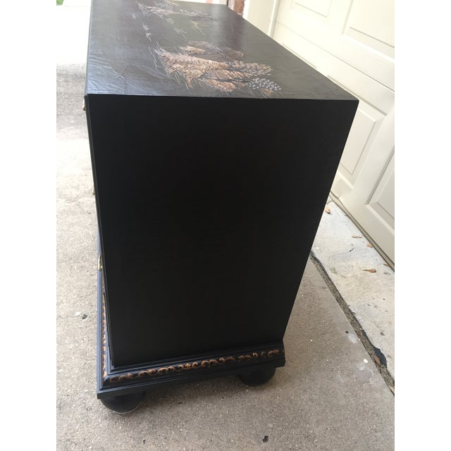 Baker Furniture Company Vintage Baker Chinoiserie Gold and Black Lacquer Chest of Drawers For Sale - Image 4 of 12