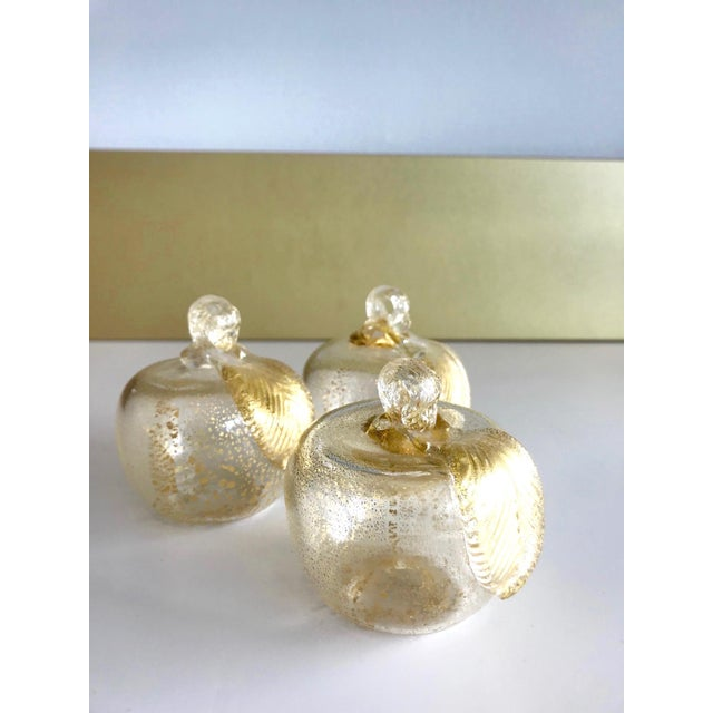 Gold Set of Three Seguso Murano Glass Apples With Gold Flecks For Sale - Image 8 of 11