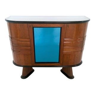 Italian Wood and Blue Mirror Bar Cabinet, 1950s For Sale