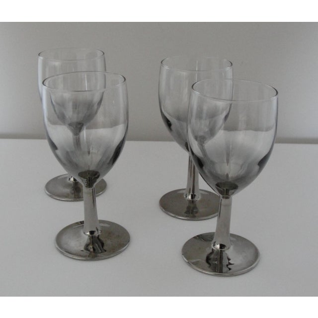 Vintage Petite Wine Glasses Marked France Silver Gray Stems - 4 For Sale - Image 4 of 11