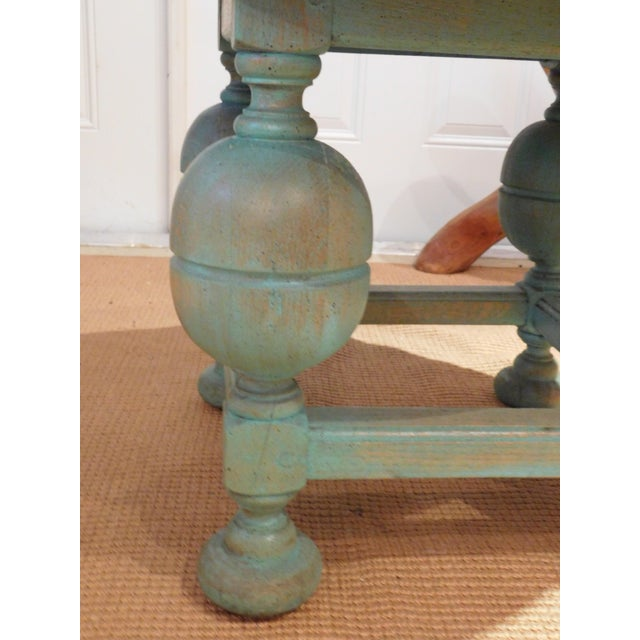 Painted Turquoise Table With Gold Glaze - Image 3 of 9