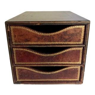Antique c.p. Leathercraft 3 Drawer File Organizer For Sale