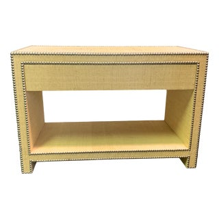 Wm Sonoma One Drawer Raffia Console Nightstand For Sale