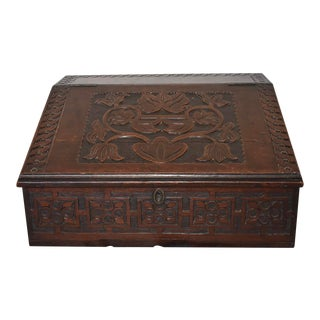 Antique English Tulip Carved Bible Box For Sale