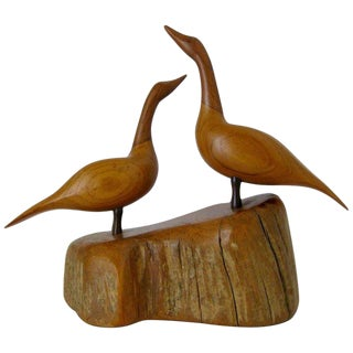 Walnut & Cherry Carved Canadian Geese Sculpture