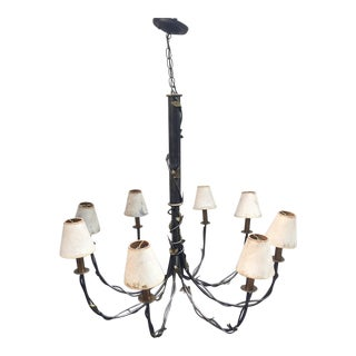 Neoclassical Iron & Bronze Statement Chandelier Handmade by Mario Villa For Sale