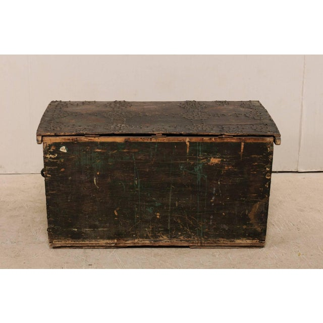 Baroque Late 18th Century Spanish Baroque Nailhead Coffer Wood Trunk For Sale - Image 3 of 12