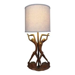"""Vintage Art Nouveau """"Twin Dancers"""" Sculptural Wood Lamp For Sale"""