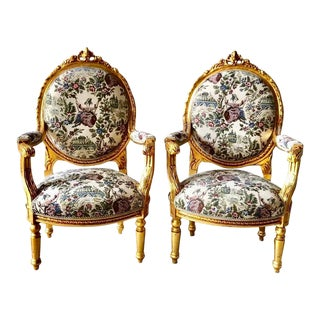 1940s Vintage French Louis XVI Style Chairs-A Pair For Sale