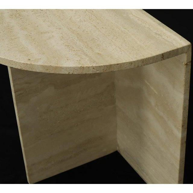 Stone Demilune Travertine Half Round Console Table For Sale - Image 7 of 12