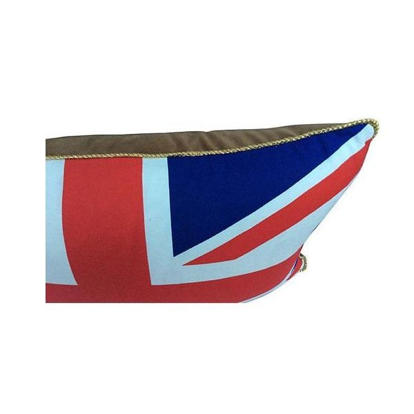 English Traditional British Union Jack Pillow W/ Gold Cording For Sale - Image 3 of 6