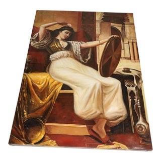 "Large Orientalist ""Woman in Harem Palace"" Oil Painting on Canvas For Sale"