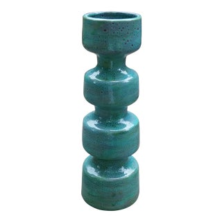 Vintage Turquoise Ceramic Vase For Sale