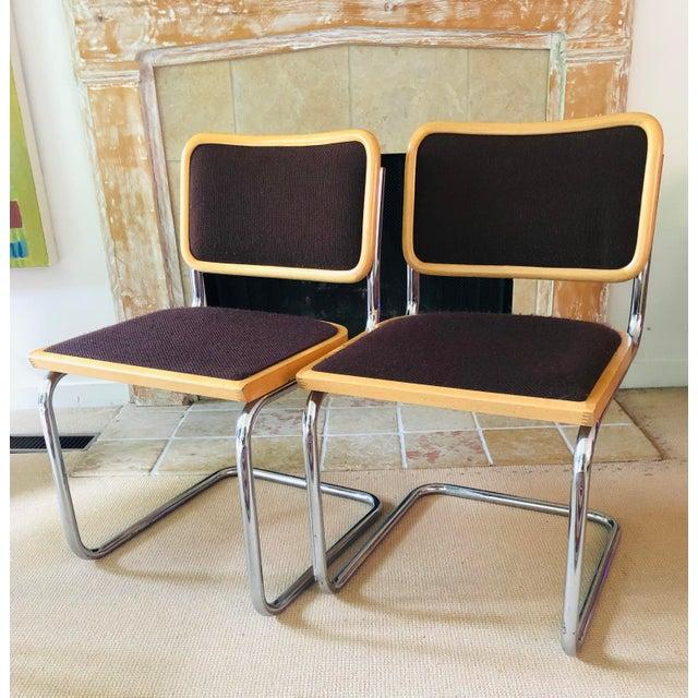 Vintage Chrome Dining Chairs Breuer Cesca Style Pair