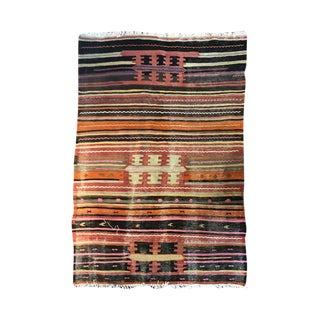 Pastel Pink Red Purple Blue Green Late 19th Century Antique Turkish Oushak Striped Rug With Fringe - 4′5″ × 7′6″ For Sale