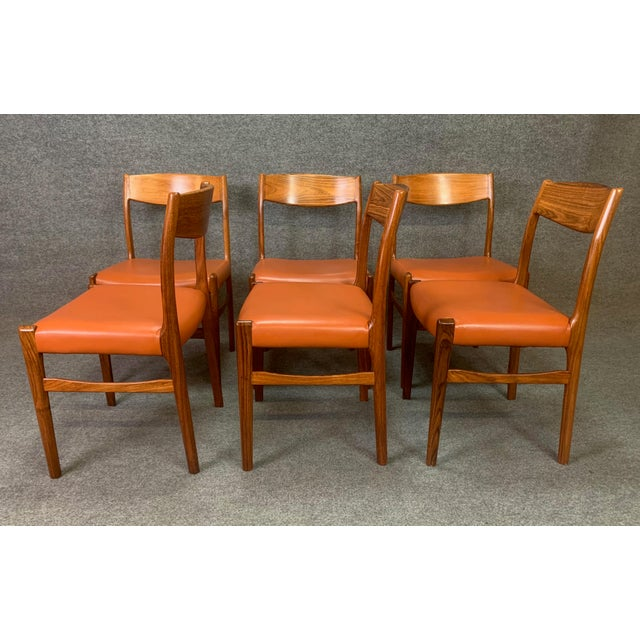 Set of Six Vintage Danish Mid Century Modern Rosewood and Leather Dining Chairs For Sale In San Diego - Image 6 of 13