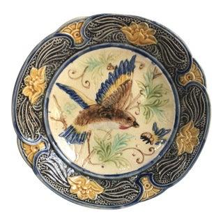 Majolica Bird Plate Wasmuel, Circa 1890 For Sale