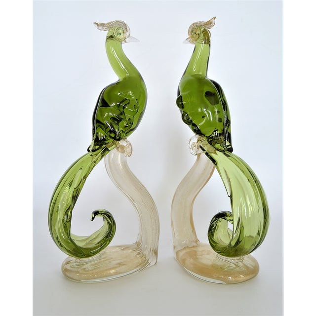 Offering a stunning matching pair of flawless antique Murano Birds of Paradise by Alfredo Barbini, circa 1950s. These...