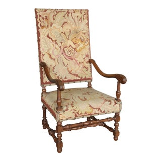 Antique 19th Century Louis XIII Needlepoint Chair For Sale
