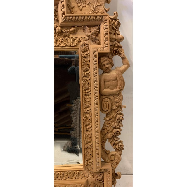 Mid 20th Century Monumental Neo-Classical Style Carved Mirror For Sale - Image 5 of 7