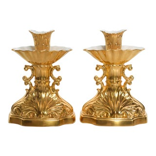 Lenox Mid-Century Modern 24k Gold Aquarius Candle Stick Holders - a Pair For Sale