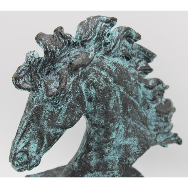Verdigris Wild Mustang Horse Head Statue For Sale - Image 10 of 13