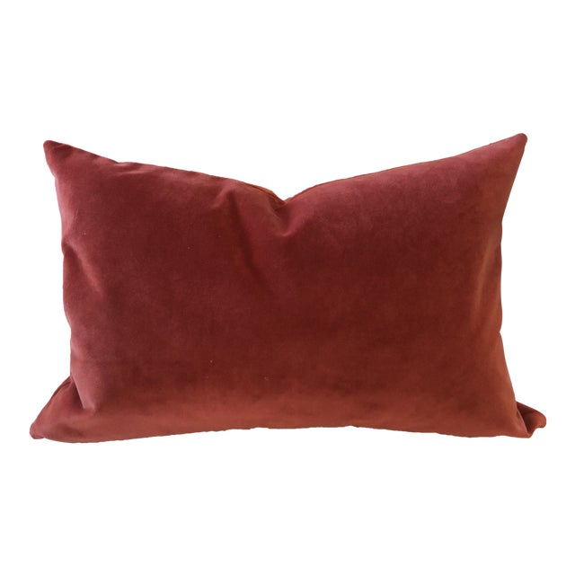 Burnt Umber Velour Feather Down Accent Pillow, Custom-Tailored For Sale