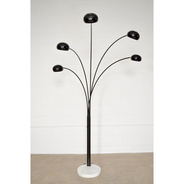 Black five arm arc floor lamp with marble base chairish black five arm arc floor lamp with marble base image 5 of 11 mozeypictures Image collections