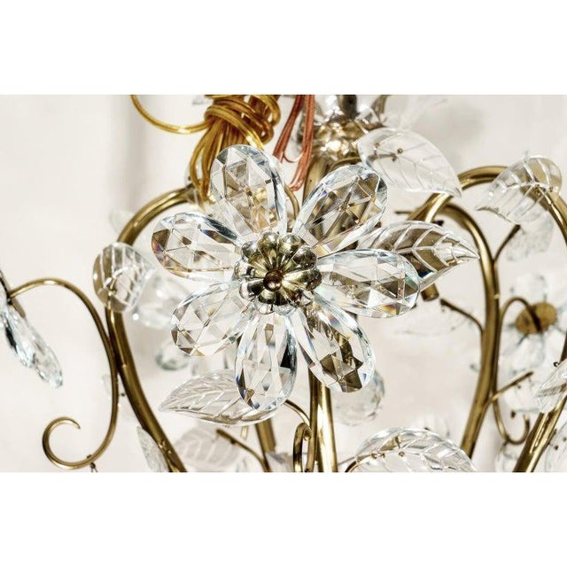 Metal Louis XV Style Crystal and Brass Chandelier For Sale - Image 7 of 11