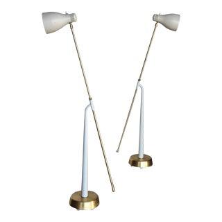 1945 Scandinavian Modern Hans Bergström for Atelje Lyktan Model 541 Floor Lamps - a Pair For Sale