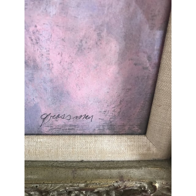 1960s Floral Still Life Mixed-Media Painting Signed S. Grossman, Framed For Sale - Image 4 of 9