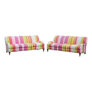Matching Striped Sofas by Sherrill - a Pair