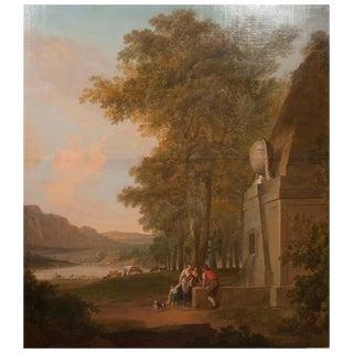 Monumental Framed Oil on Canvas Pastural Landscape For Sale