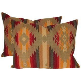 Pair of Vintage Pendleton Indian Design Blanket Pillows For Sale